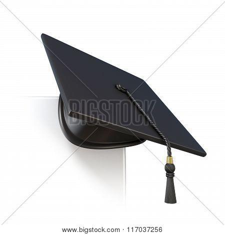 Graduation cap on blank paper corner. 3D