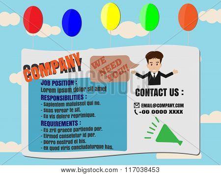 Job Finder Advertisement On Balloon Banners