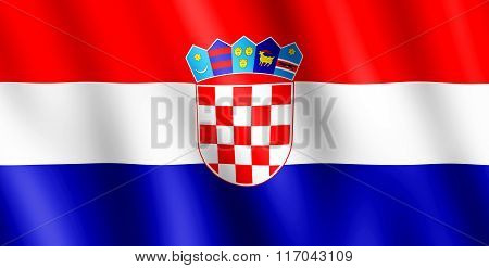 Flag Of Croatia Waving In The Wind