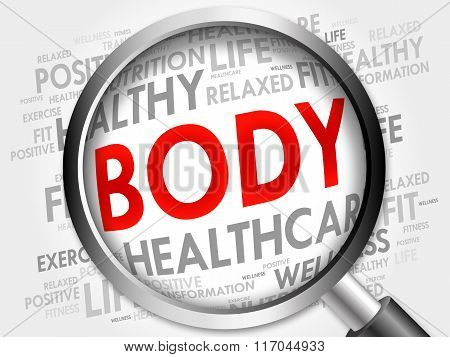 Body Word Cloud With Magnifying Glass