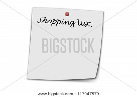 shopping list written on a memo isolated on white poster