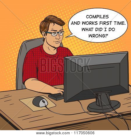 Software developer at work comic book style vector