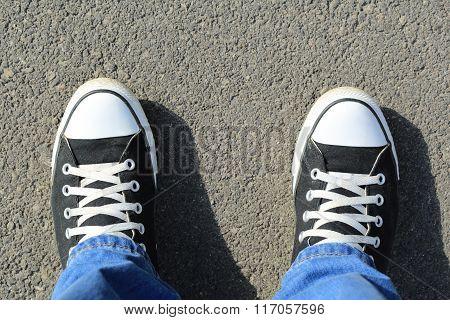 Black Canvas Sneakers, On Asphalt, Top View