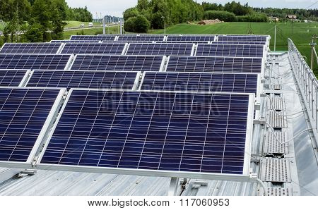 surface of the a solar panel on roof