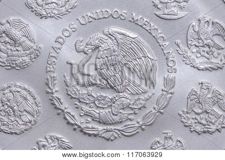 Coat Of Arms Of Mexico On Silver Coin