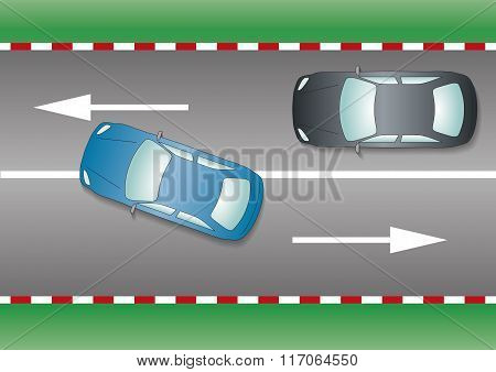 Blue Car Overtaking Black Car Prohibited Manoeuvre