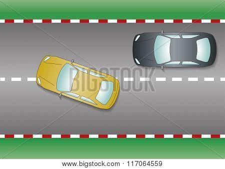 Yellow Car Overtaking Black Car