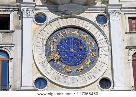 Venice, Italy - September 02, 2012: Clock On St Mark's Clocktower In Venice, Italy
