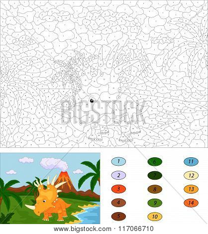 Funny Cute Styracosaurus On The Background Of A Prehistoric Nature. Color By Number Educational Game