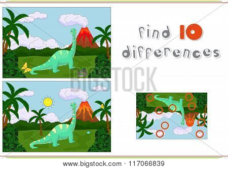 Funny Cute Diplodocus On The Background Of A Prehistoric Nature. Game For Kids: Find Ten Differences