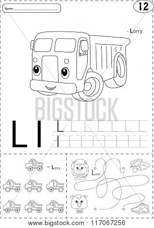 Cartoon Lorry And Lion. Alphabet Tracing Worksheet: Writing A-z And Educational Game For Kids