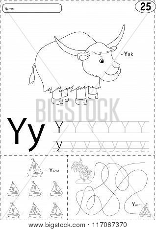 Cartoon Yak And Yacht. Alphabet Tracing Worksheet: Writing A-z And Educational Game For Kids