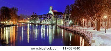 Gothic Town Landshut On Isar River By Munich, Bavaria, Germany