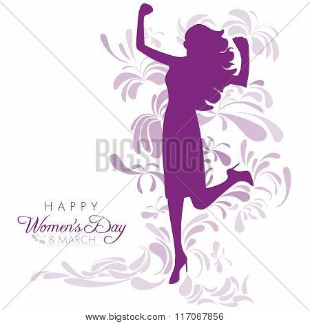 Happy Womens Day greeting card or poster design with purple silhouette of an empowered girl on a white background with abstract floral and butterfly designs.