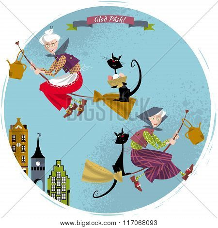Elderly Women On Broomsticks With Cat And Kettle. Scandinavian Easter. Glad Pask!