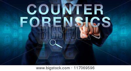 Forensic examiner is pushing COUNTER FORENSICS. Fading locked padlock icons embedded in hexagons do signify data hiding and artifact wiping while a virtual loupe represents the attempted analysis. poster