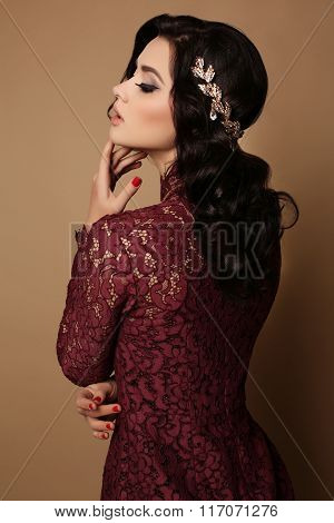Sexy Girl With Dark Hair Wears Elegant Lace Dress, Luxurious Necklace And Tiara