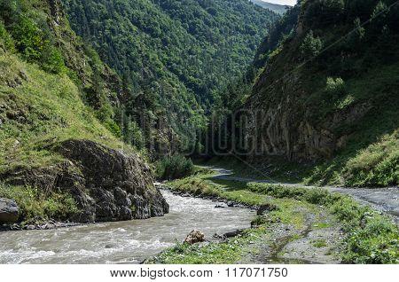 Caucasus Mountains, Canyon Of Argun River And Road To Shatili, Gorgia, Europe