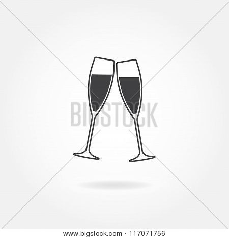 Two glasses of champagne or wine. Cheers icon or sign. Vector illustration.