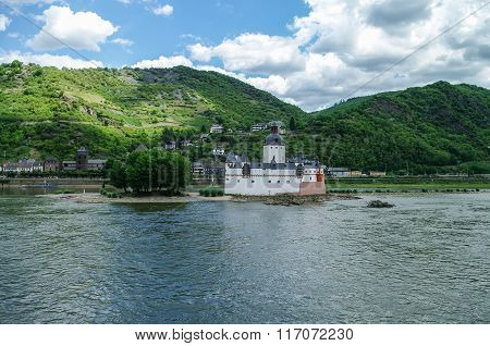 Medieval Castle Burg Pfalzgrafenstein  At Rhine River Valley, Near Kaub, Germany