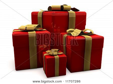 3D rendered holiday gifts