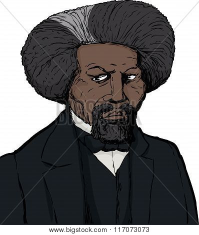 Color sketch portrait of famous African American leader named Frederick Douglass with white background poster