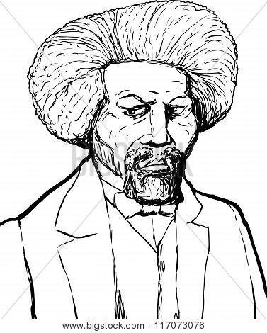 Hand drawn sketch portrait of famous African American leader named Frederick Douglass poster
