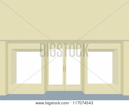 Storefront. Empty Storefront. Clean Store Windows. Front Group For Store Design. Facade Of A Store