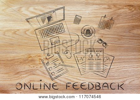 Laptop & Documents With Online Feedback Analysis On Messy Desk