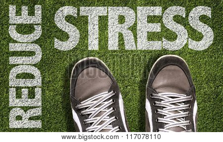 Top View of Sneakers on the grass with the text: Reduce Stress poster