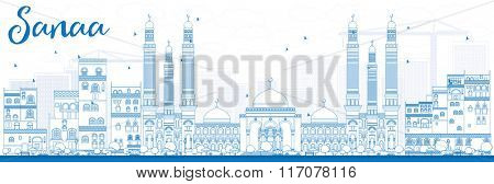 Outline Sanaa (Yemen) Skyline with Blue Buildings. Vector Illustration. Business Travel and Tourism Concept with Historic Buildings. Image for Presentation Banner, Placard and Web Site.