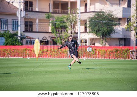 HUAHIN THAILAND-26JAN,2016 : Sergio Paulo Nascimento Filho player of port fc in action during training pre-season at true arena huahin thailand