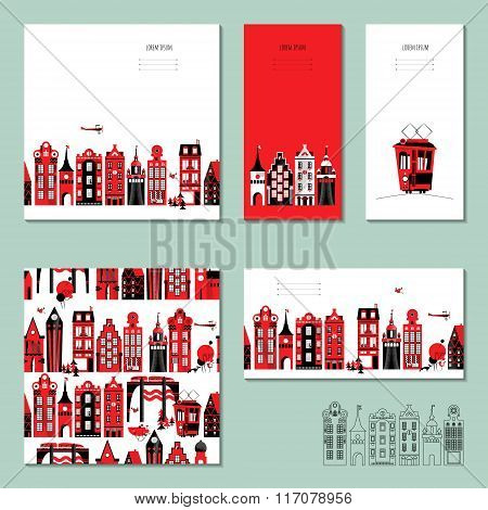 Set Of 5 Universal Cards With Old European Style Buildings. Template. Business Card, Special Event,