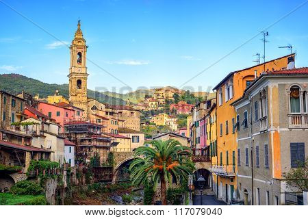 Dolcedo, Small Italian Town In The Maritime Alps Mountain, Liguria, Italy