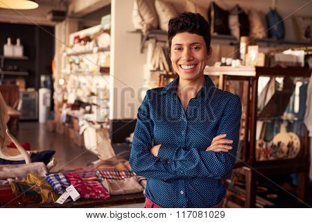 Portrait Of Female Owner Standing In Gift Store