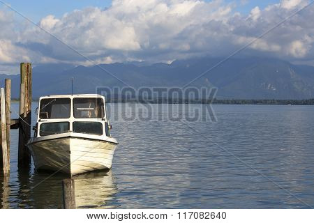 Motor Boat At The Pier, Chiemsee, Bavaria