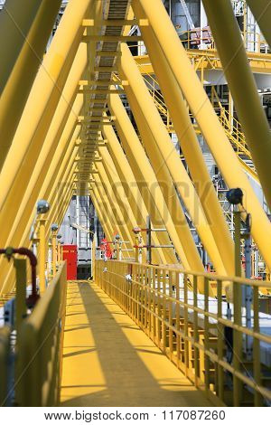Gangway or walk way in oil and gas construction platform, oil and gas process platform