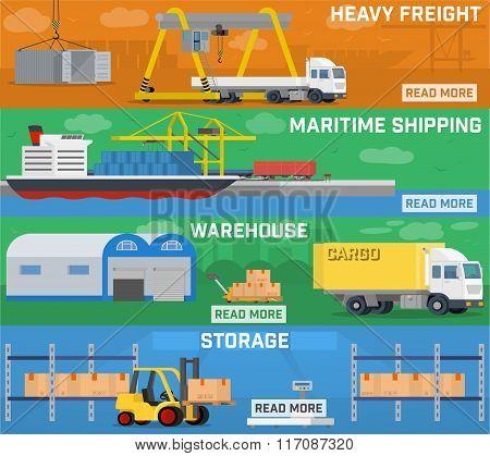 Warehouse and logistics banner set.