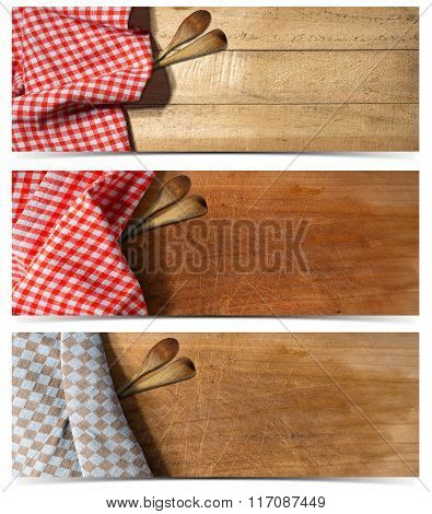 Set Of Kitchen Banners With Tablecloth