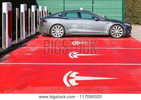 Tesla supercharger station and parking in Lyon, France