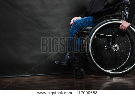 Woman Invalid Girl Sitting On Wheelchair