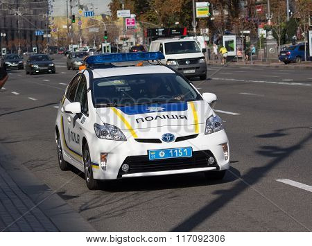 Kiev, Ukraine - September 19, 2015: Ukrainian Police Patrol Car On The Street Khreshchatyk
