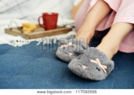 Girl In Cute Slippers