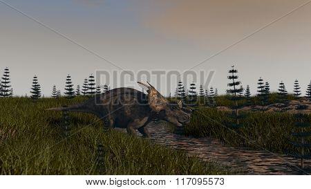 achelousaurus in prehistoric landscape