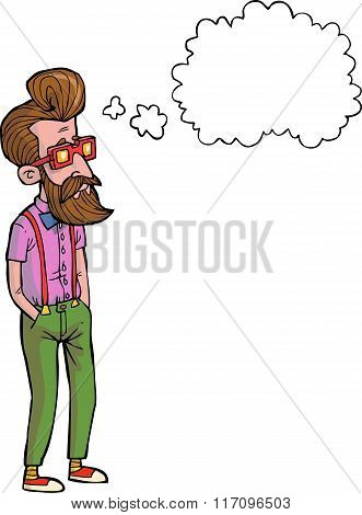 Cartoon Hipster Thinking