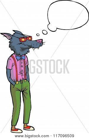 Cartoon Hipster Wolf