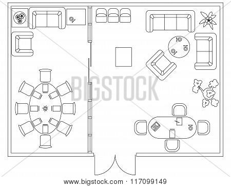 Architectural set of furniture. Design elements for floor plan, premises. Thin lines icons. Office e