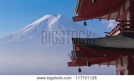 Mt. Fuji with red Chureito Pagoda front view