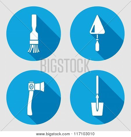 Tool icon set. Brush, trowel, spattle, surfacer, axe, hache, shovel, spade. Work, job, labour, toil, repair, fix, plane, building symbol. White sign on round blue button with long shadow. Vector isolated poster