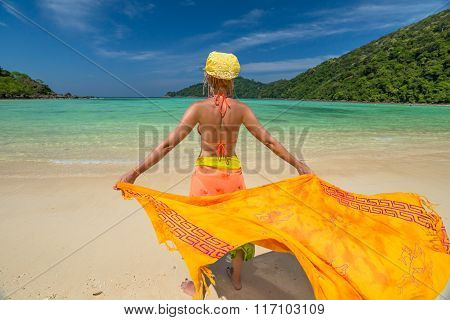 Happy woman with sarong